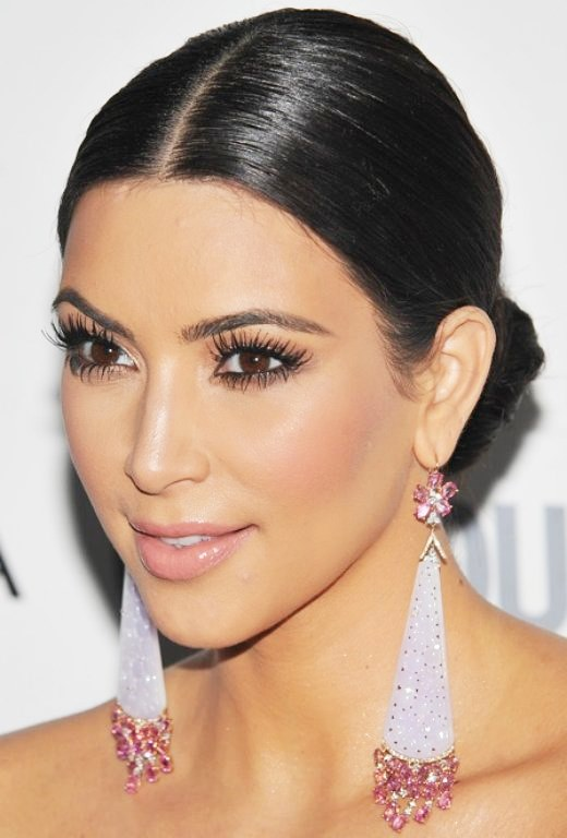 Kim Kardashian's Simple Smooth Middle Part Low Chignon