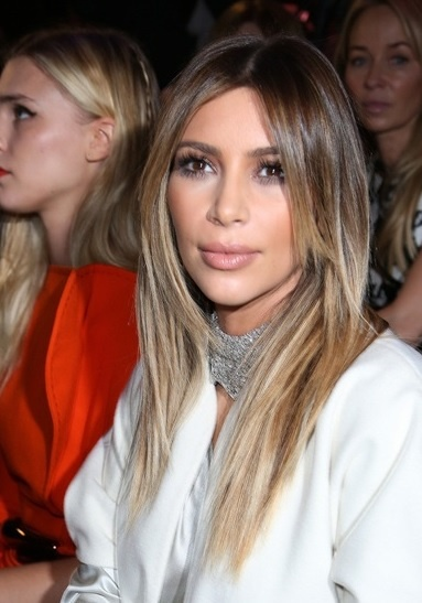 Kim Kardashian's Long Layered Ombre