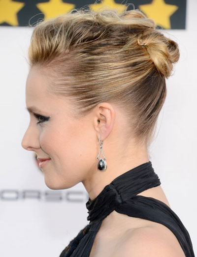 Kristen Bell's Cool High Bun Hairstyle at the 2014 Critics' Choice Awards
