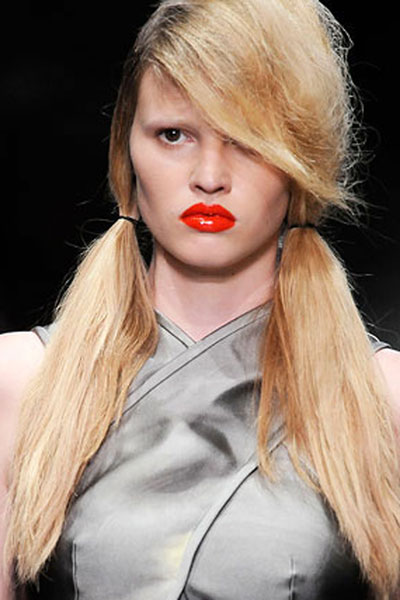 Lara Stone's Playful Texturized Pigtails with Side Bangs