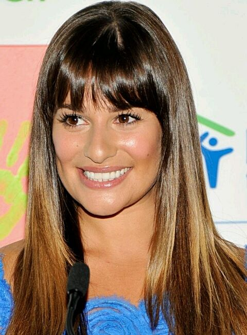 Lea Michele Shiny Long And Layered Straight Hair With Blunt Bangs
