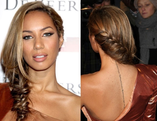 Leona Lewis' Side Swept Fishtail Braid