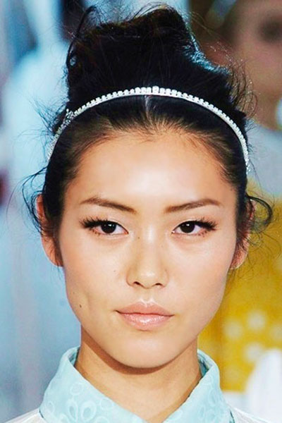 Liu Wen's Stylish Messy Updo with Thin Headband