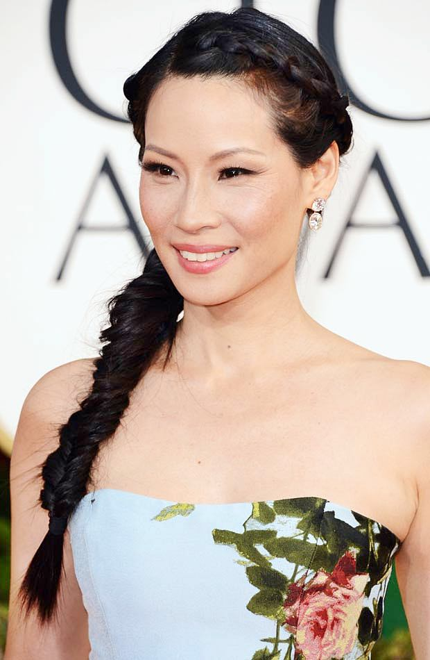 Lucy Liu's Stylish Deconstructed Fishtail Braid At The 2013 Golden Globes