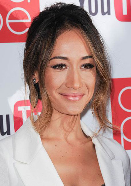 Maggie Q's Sultry Updo with Wavy Bangs