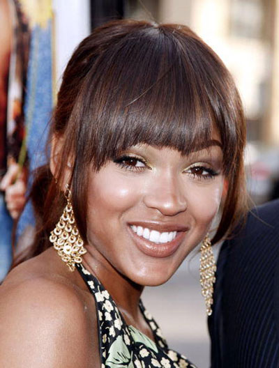 Meagan Good's Pretty Ponytail with Blunt Bangs