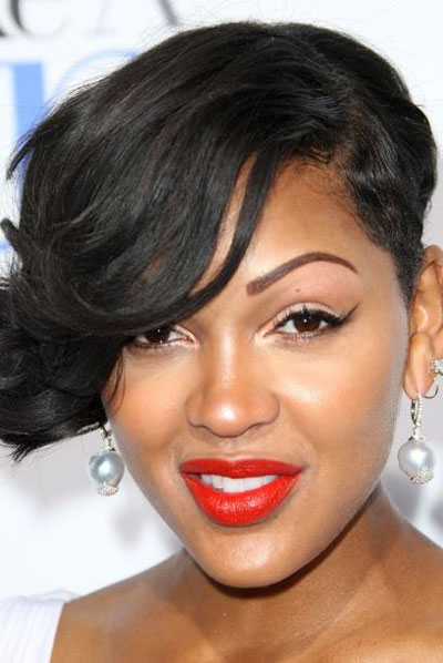 Meagan Good's Fierce One-Sided Wavy Short Hairstyle