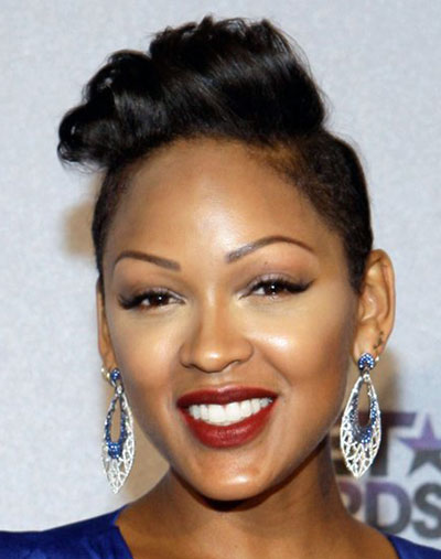 Meagan Good's Side-Shaved Pompadour Hairstyle