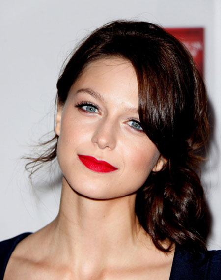 Melissa Benoist's Casual Messy Side Bun Hairstyle