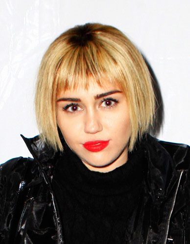 Miley Cyrus' Edgy Blunt Bob with Choppy Bangs Hairstyle