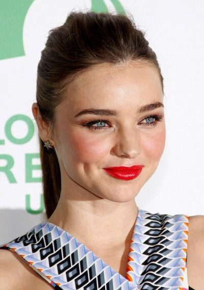Miranda Kerr High Ponytail with Volume On Top To Lengthen Face