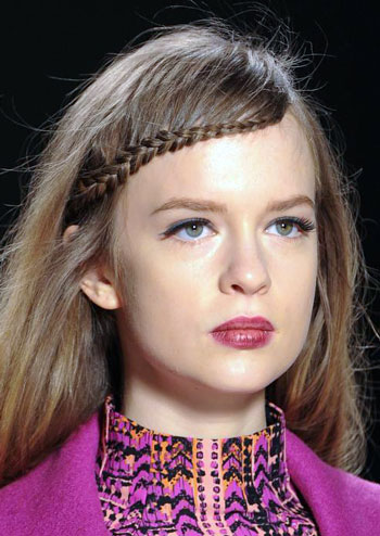 Waterfall Braided Bangs at Nanette Lepore Fall/Winter 2014 Fashion Show