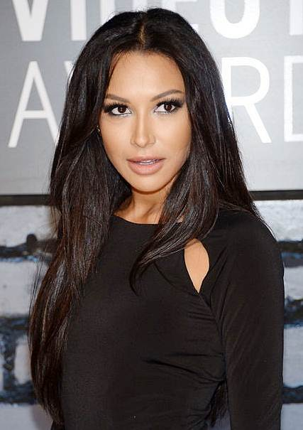 Naya Rivera's Middle Part Black Layered Hairstyle At The 2013 Video Music Awards