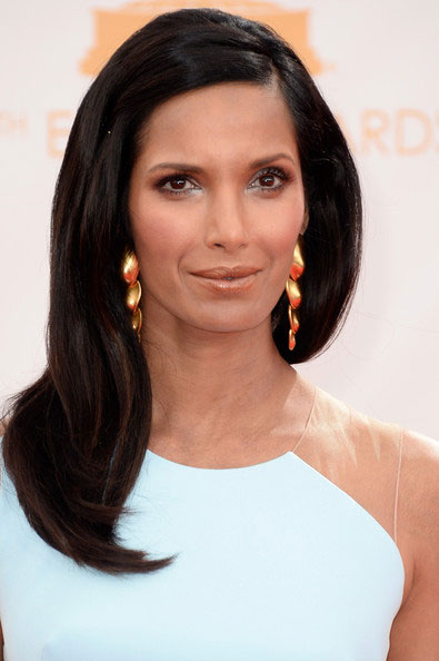Padma Lakshmi's Long Side Part Hairstyle at the 2013 Primetime Emmy Awards