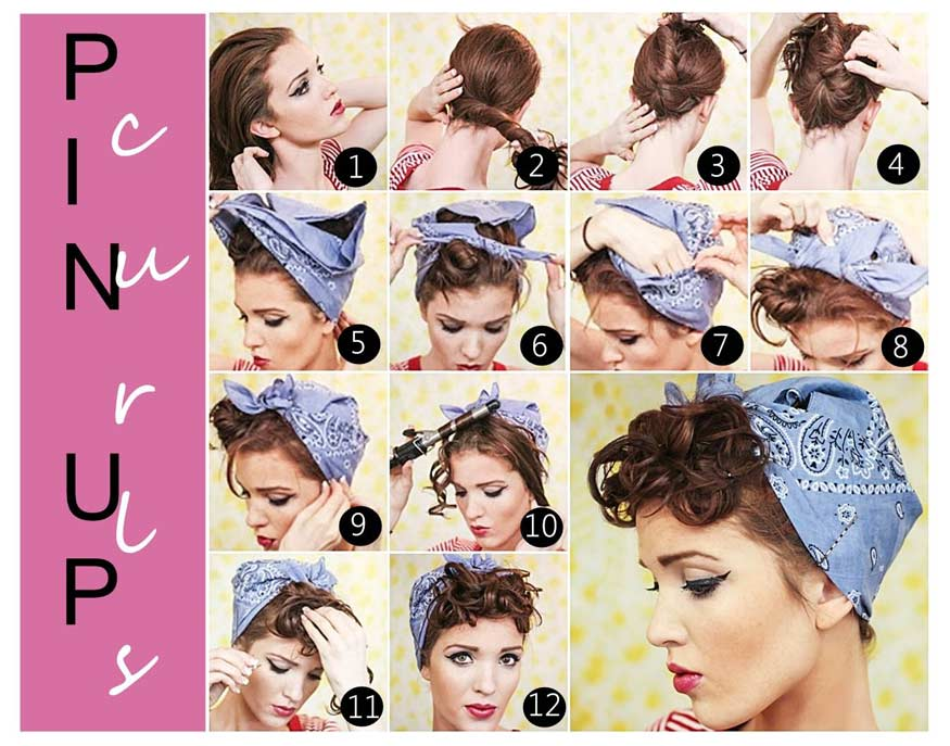 Diy tutorial hairstyles hairdos learn how to style your hair pin up curls with bandana vintage hairstyle solutioingenieria Image collections