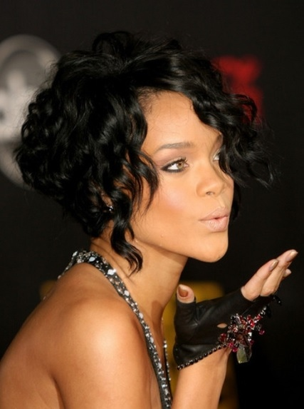 Rihanna Curly Asymmetrical Short Shag Hairstyle