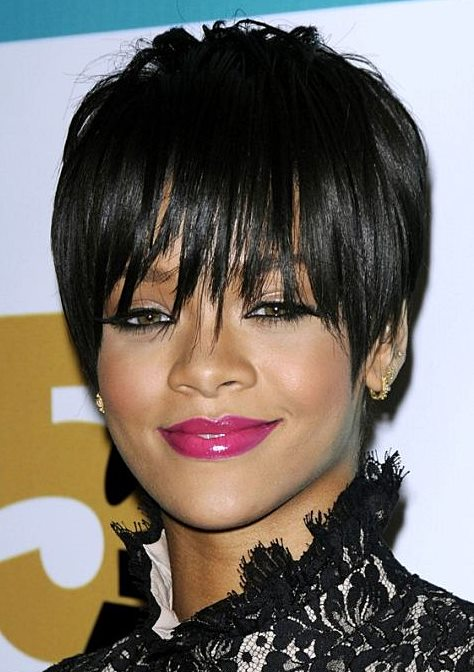 Rihanna's Fierce Pixie Hairstyle With Layered Bangs