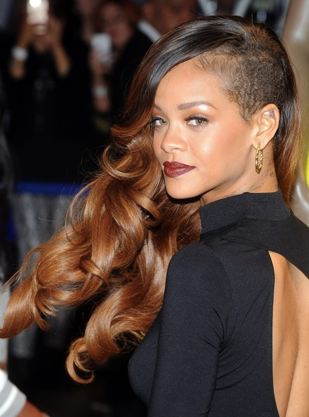 Rihanna's Side Shaved Long Hair With Shoulder Swept Curls