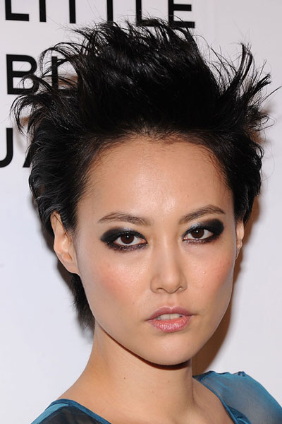 Rinko Kikuchi's Ferocious Punk Short Hairstyle with Spiky Top