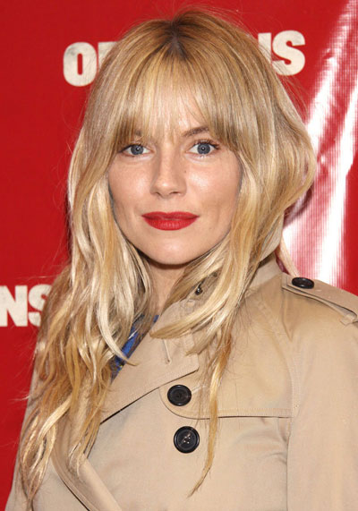 Sienna Miller S Long Wavy Hairstyle With Blunt Bangs