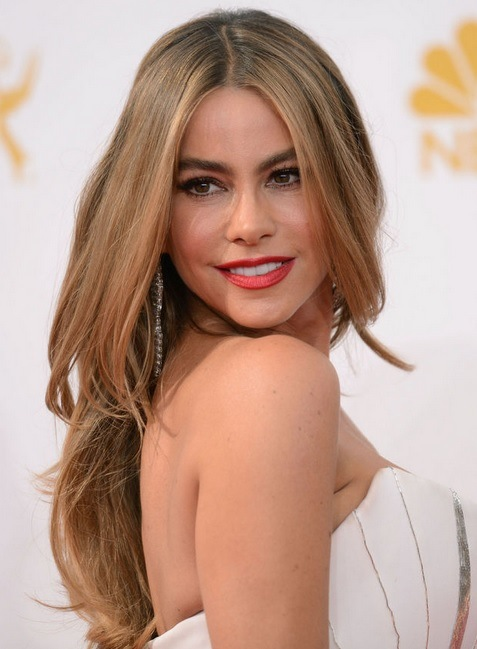 Sofia Vergara's Long Layered Hairstyle At Emmy Awards 2014