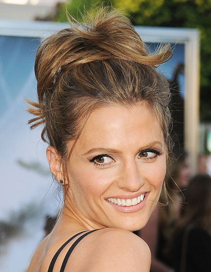 Stana Katic's Playful Loose High Ponytail