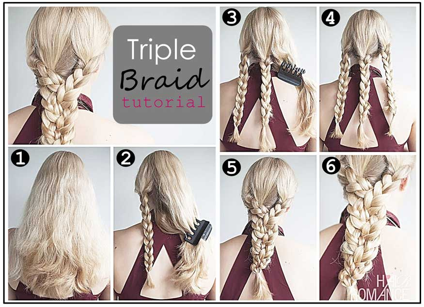 Triple Braid Ponytail Hairstyle Tutorial