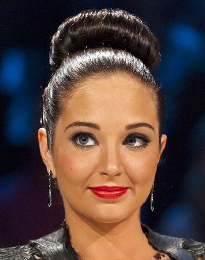 Tulisa Contostavlos' Fun Large Sock Bun Hairstyle