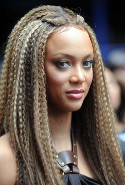 Tyra Banks's Eighties Outlandish Crimped Long Hairstyle