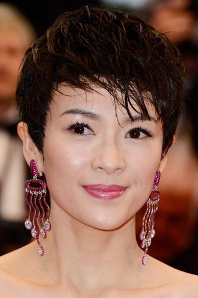 Zhang Ziyi Fesity Short Hair With Curly Long Bangs