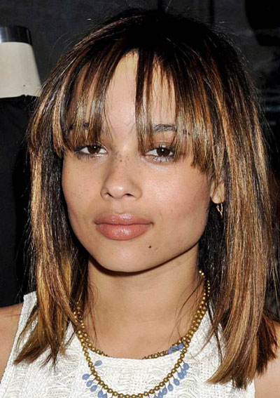 Zoë Kravitz's Stylish Sleek Bob with Blunt Bangs