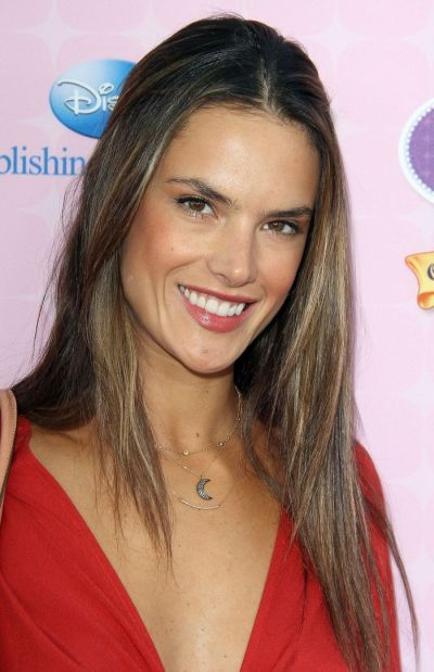Alessandra Ambrosio's Straight Sleek Brown Hair With Middle Part Hairstyle