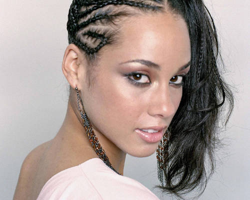 Alicia Keys's Black Hair In Braided Formal Ponytail Updo Hairdo