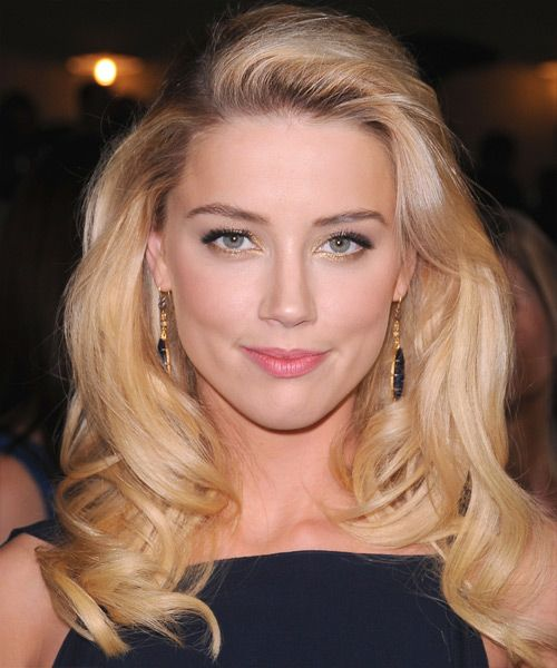 Amber Heard Long Blonde Hair In Big Bouncy Wavy Hairstyle