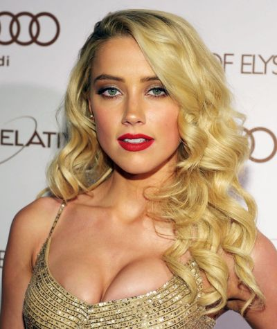 Amber Heard's Long Curly Blonde Sexy Glamorous Hairstyle