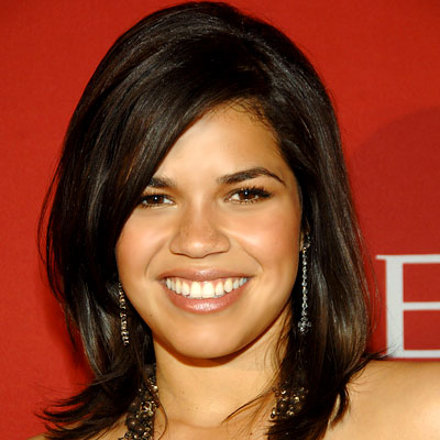 America Ferrera Sleek Straight Dark Brown Shoulder Length VoluminousHairstyle