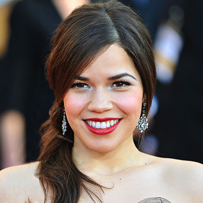 America Ferrera's Long Brown Hair In Low Ponytail Hairdo