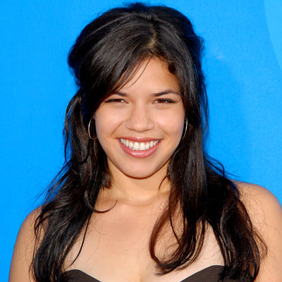 America Ferrera Long Dark Hair In Casual Half Up Hairdo
