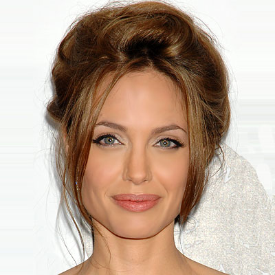 Angelina Jolie's Long Hair Is Styled In A Romantic Updo