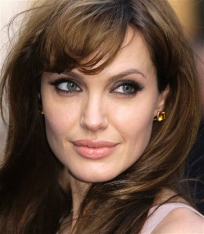 Angelina Jolie's Long Brown Straight Hair With Hair Bangs