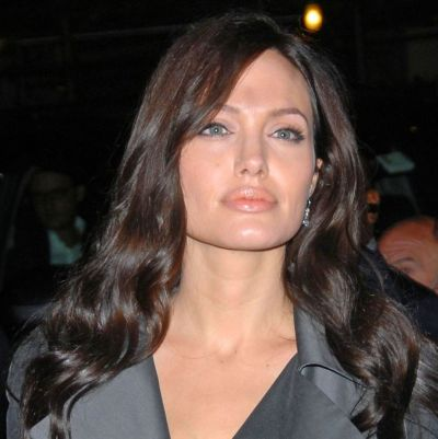 Angelina Jolie's Long Layered Black Hair With Side Bangs