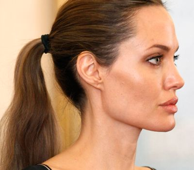 Angelina Jolie's Long Straight Brown Hair In Simple Ponytail