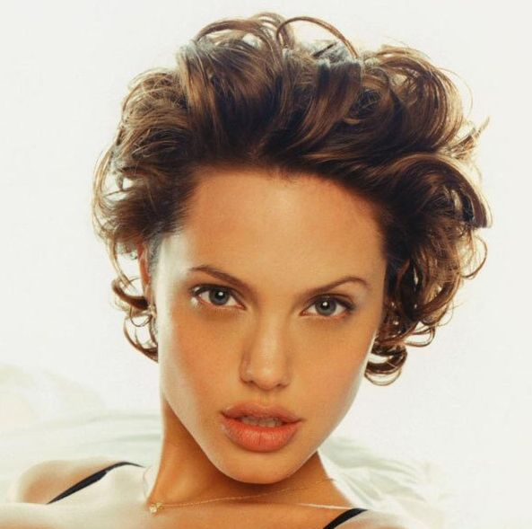 Angelina Jolie's Short Brown Hair In Curly Playful Hairstyle