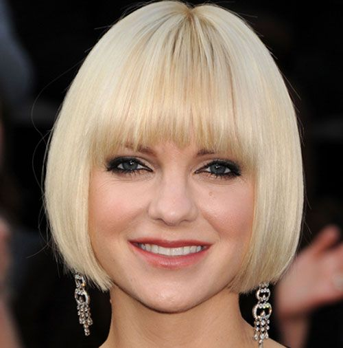 Anna Faris Straight Blonde Hair In Sleek Chin-Length Bob