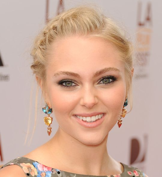 AnnaSophia Robb's Long Blonde Hair In Braided Updo For Prom