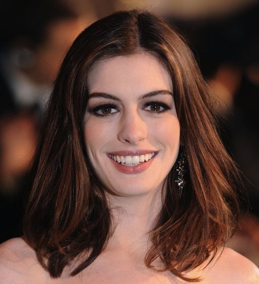 Anne Hathaway's Brown Straight Medium-Length Hairstyle With Middle Part