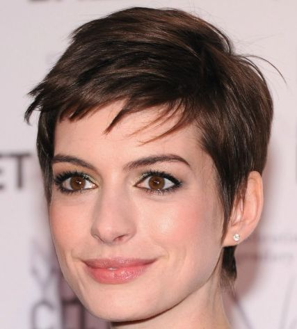 Anne Hathaway's Straight Brown Hair In Short Pixie-Cut Hairstyle