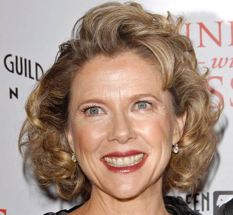 Annette Bening's Highlighted Brown Hair In Formal Wavy Hairstyle