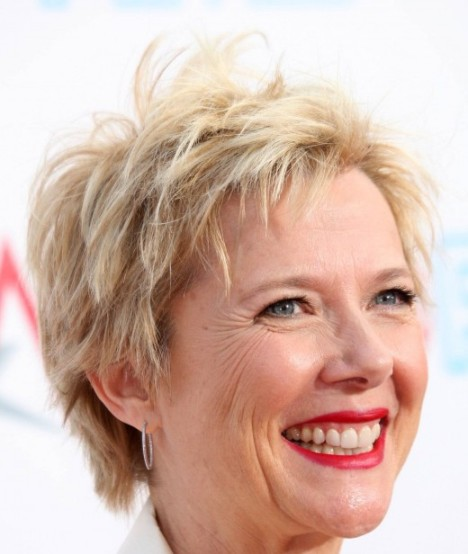 Annette Bening's Sassy Chic Short Straight Blonde Mature Hairstyle