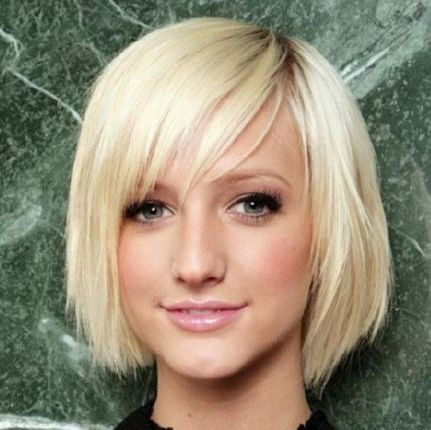 Ashlee Simpson's Straight Blonde Hair In Choppy Bob With Bangs